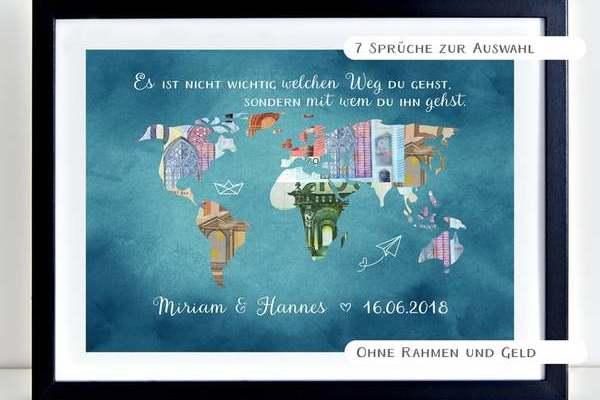 Hochzeitsgeschenk: Weltkarte mit Geldscheinen als Geldgeschenk