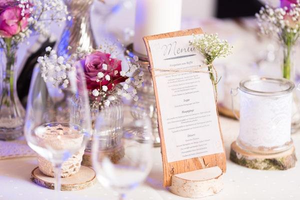 Menükarten für die Hochzeit